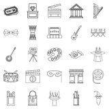Exhibition icons set, outline style. Exhibition icons set. Outline set of 25 exhibition vector icons for web isolated on white background Stock Images