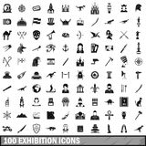 100 exhibition icons set, simple style Stock Photos