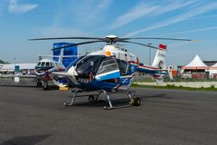 Exhibition ILA Berlin Air Show 2018. BERLIN - APRIL 27, 2018: Research helicopter Eurocopter MBB Bo105 by German Aerospace Center DLR. Exhibition ILA Berlin Air royalty free stock photography