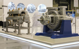 Exhibition of industrial and mechanical assemblies. Stock Image