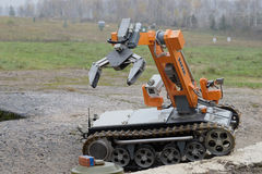 Exhibition INTERPOLITEX 2016. Robot for destruction of ammunition royalty free stock image