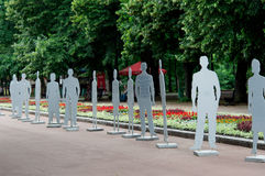 Exhibition of invisible people in Shevchenko Park.  iinvisible m Stock Photos