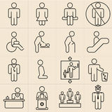 Exhibition Line Icons Stock Images
