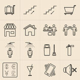Exhibition line icons vector illustration