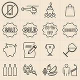 Exhibition line icons Royalty Free Stock Photo