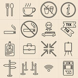 Exhibition Line Icons Set Stock Images
