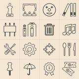 Exhibition line icons set stock illustration