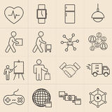 Exhibition line icons set royalty free illustration