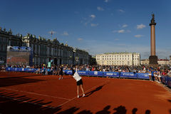 Exhibition match of international tennis tournament Saint-Petersburg Open Royalty Free Stock Photo