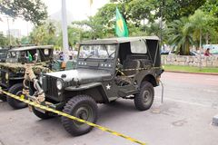 Exhibition of military cars in rio de janeiro stock photos