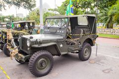 Exhibition of military cars in rio de janeiro royalty free stock photography