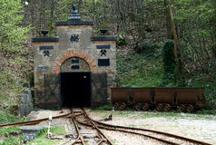 Exhibition Mine. The entrance gate of the Tiefer Stollen (deep gallery) exhibition mine near Aalen, South Germany. This mine was active from 1840 to 1924. It was Royalty Free Stock Photography
