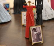 Exhibition of miniature dresses made of paper by Brazilian artist Helena Kavano - Sao Paulo - June 2019. Handmade replicas of famous dresses from Hollywood stock photos