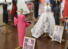 Exhibition of miniature dresses made of paper by Brazilian artist Helena Kavano - Sao Paulo - June 2019. Handmade replicas of famous dresses from Hollywood royalty free stock photos
