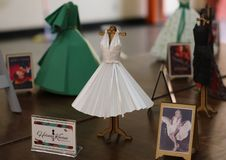 Exhibition of miniature dresses made of paper by Brazilian artist Helena Kavano - Sao Paulo - June 2019. Handmade replicas of famous dresses from Hollywood royalty free stock photography