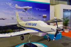 Exhibition model aircraft in Singapore stock images