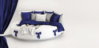 Exhibition of modern bed. Interior of white Royalty Free Stock Images