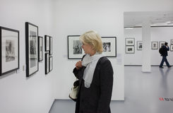 At the exhibition. Moscow House of Photography. Royalty Free Stock Photos