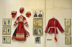 Exhibition of national clothes and designer works in ethnic style Royalty Free Stock Image