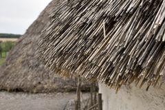 Exhibition neolithic house at Stonehenge, Salisbury, Wiltshire, England with hazel thatched roof and straw hay daubed walls. Sample display house using Royalty Free Stock Image