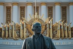 Exhibition Of The National Economy Of Russia, VDNH. Monument To Lenin Royalty Free Stock Photography