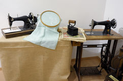 Exhibition of old sewing machines Royalty Free Stock Images