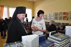The exhibition Orthodox Church literature in Gomel. Stock Images