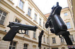 Exhibition oversized guns in Prague Stock Image