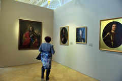 Exhibition of painting Peter the Great. Time and Places  Stock Photos