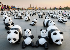 Exhibition of the 1,600 paper-mache panda sculptures world tour collaboration in Thailand Stock Image