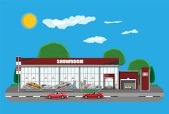 Exhibition pavilion, car dealership. Exhibition pavilion, showroom or dealership. Car showroom building. Car center or store. Auto service and shop. Road, sky Stock Photography