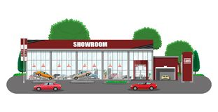 Exhibition pavilion, car dealership. Exhibition pavilion, showroom or dealership. Car showroom building. Car center or store. Auto service and shop. Vector Royalty Free Stock Photo