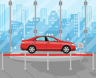 Exhibition Pavilion, dealership with yellow car. Exhibition Pavilion, showroom or dealership with red car, vector illustration in flat style Stock Photos