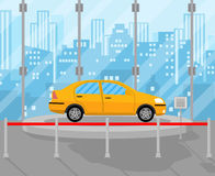 Exhibition Pavilion, dealership with yellow car. Exhibition Pavilion, showroom or dealership with yellow car, vector illustration in flat style Stock Photos