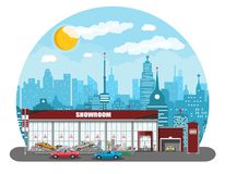 Exhibition pavilion, car dealership. Exhibition pavilion, showroom or dealership. Car showroom building. Car center or store. Auto service and shop. Cityscape Royalty Free Stock Photography