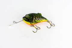 Exhibition of pirated copies of fishing metal spoon baits. Royalty Free Stock Photos