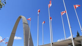 Exhibition Place Arch and Canadian Flags stock footage