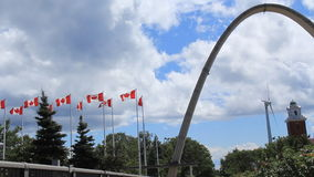 Exhibition Place Arch and Wind Turbine stock video