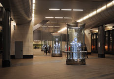 Exhibition of porcelain at the metro station Vorobyovy Gory Royalty Free Stock Photo