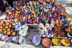 Exhibition of pottery outside the souvenir shop, Morocco Royalty Free Stock Photography