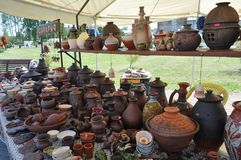 Exhibition of pottery for sale royalty free stock photography