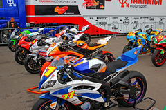Exhibition of racing bikes. Russian stage of the S Royalty Free Stock Photos
