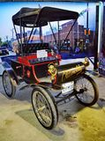 Exhibition of retro cars. Car `Oldsmobile Curved Dash 1901`, capacity 4,5 HP, USA. In 1901 the company «Olds Motor Works» produced 425 cars royalty free stock images
