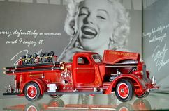 Exhibition of retro cars. Fire Engine `American LaFrance B-550RC `Freeport, Engine 3`, year of manufacture 1939-1941. USA stock photography