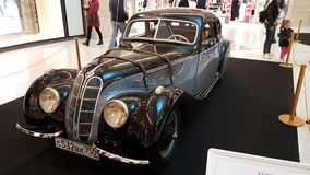 Exhibition of retro cars in the Metropolis mall Stock Image