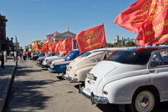Exhibition of retro cars produced in the USSR on the forecourt i Stock Photos