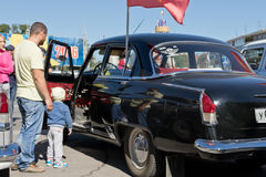 Exhibition of retro cars produced in the USSR on the forecourt i Stock Photography