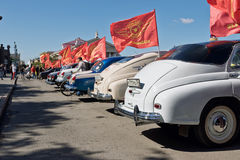 Exhibition of retro cars produced in the USSR on the forecourt i Royalty Free Stock Photos