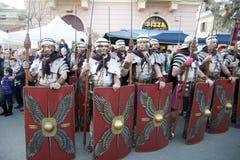 Exhibition of roman gladiators stock photos