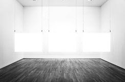 Exhibition room with pictures and white background Royalty Free Stock Photography
